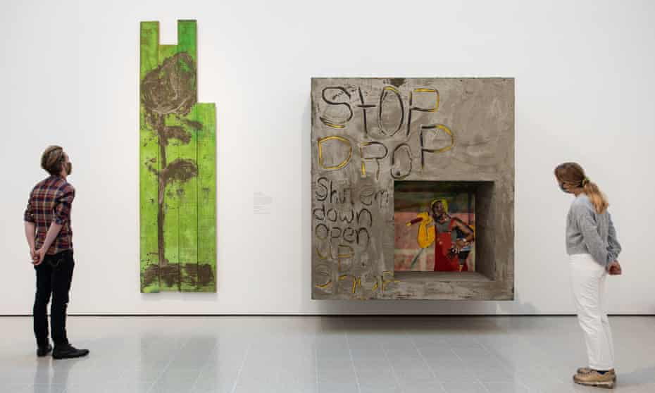 Alvaro Barrington, A Rose for Rose (2021) and Stop Drop (2021) in Mixing It Up at the Hayward Gallery, London.