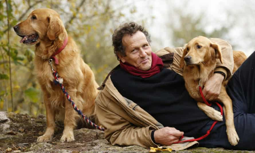Monty Don with his dogs Nigel and Nell.