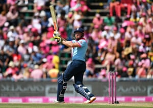 Bairstow sends one for six.