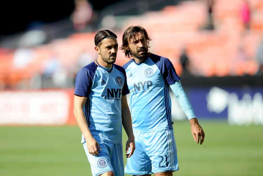 Boys in blue: David Villa and Andrea Pirlo.