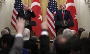 Donald Trump and Turkish President Recep Tayyip Erdogan during a news conference in the East Room of the White House