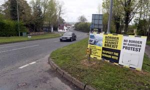 Anti-Brexit posters near border