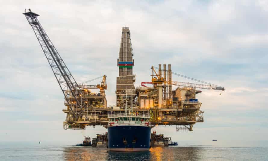 Oil rig platform transported in the calm sea, Azerbaijan. 2015.