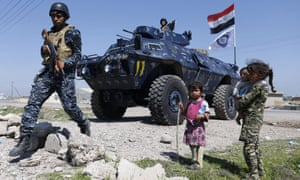 Displaced Iraqi children, who fled their homes in western Mosul due to fighting between government forces and Isis fighters.