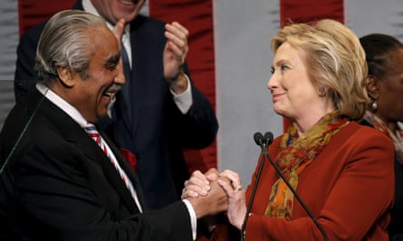 Democratic U.S. presidential candidate Hillary Clinton introduced by U.S. Representative Rangel for address in Harlem in New York CityDemocratic U.S. presidential candidate Hillary Clinton is introduced by U.S. Representative Charles Rangel (D-NY) (L) for her address at the The Schomburg Center for Research in Black Culture in the Harlem section of New York City, February 16, 2016. REUTERS/Mike Segar