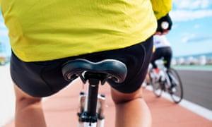 Man sitting on a bike saddle