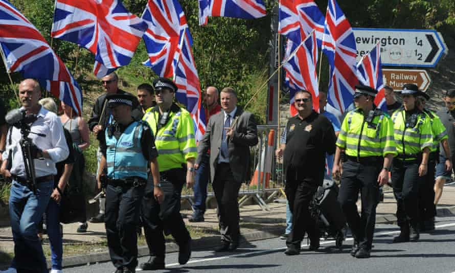 Rival groups of protesters demonstrate over the migrant crisis in Folkestone last August.
