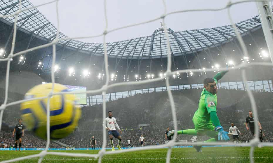 A football going into the back of the net, past the Brighton & Hove Albion goalkeeper, as Harry Kane scores for Tottenham Hotspur, December 26,  2019
