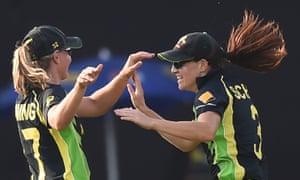 Australia's Megan Schutt and Meg Lanning