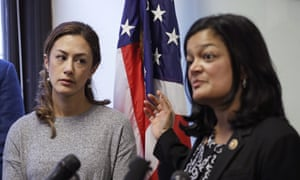 US congressional representative Pramila Jayapal talks at a news conference earlier this week where she complained about hours-long delays by the authorities for Iranian-Americans trying to return to the US from Canada, since the escalation of the US-Iran crisis in the last six days. Looking on is Negah Hekmati, left, who was held up at the US border