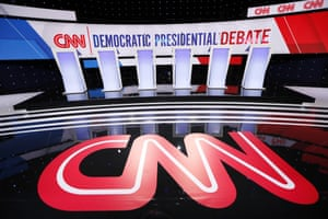 The CNN logo is seen on the stage before the seventh Democratic debate.