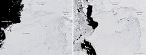 Composite image of Thwaites glacier taken on 2 December 2001 (left) and on 28 December 2019. The photos show the changes that have occurred since the start of this century.