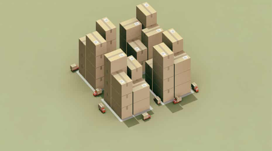 a city made of cardboard delivery boxes