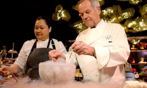 'A lot of them like comfort food. Perhaps they are nervous' … Wolfgang Puck, right, showcases his recipes for the 89th Governors Ball.