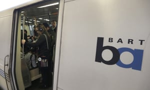 Passengers wait for a Bart train to depart the Fruitvale station in Oakland, California.