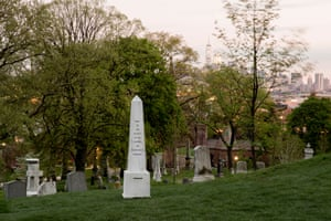 An obelisk in a graveyard