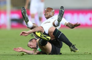 Charlie Adam takes out Andre Ayew before being removed.
