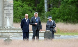Queen Elizabeth II and the Duke of Edinburgh at Anne Frank's grave at the Bergen-Belsen concentration camp in Lohheide, Germany