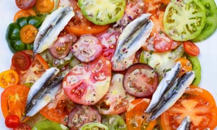 'Perfect side dish': tomato, anchovy, tarragon.