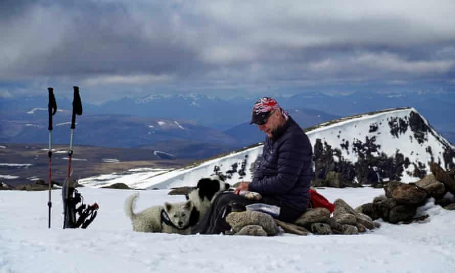 A walker and his dog on the summit of Ben Macdui or Beinn MacDuibh.