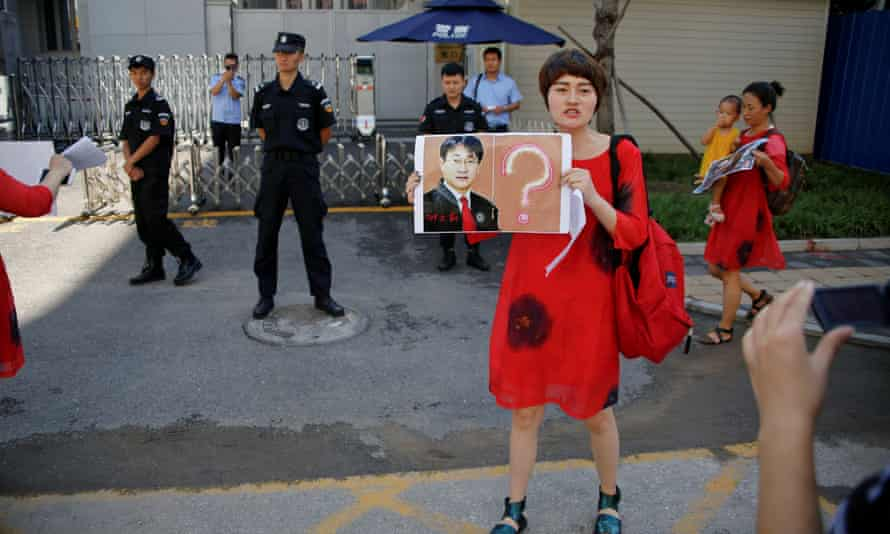 Li Wenzu, wife of lawyer Wang Quanzhang, during a protest in Beijing against the detention of human rights defenders.