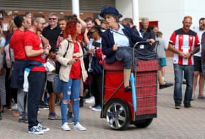 Arguably the weirdest fancy dress costume ever seen at a football match came at St Mary's Stadium on Saturday as a fan rocked up on a Segway dressed as a Scottish grannie.