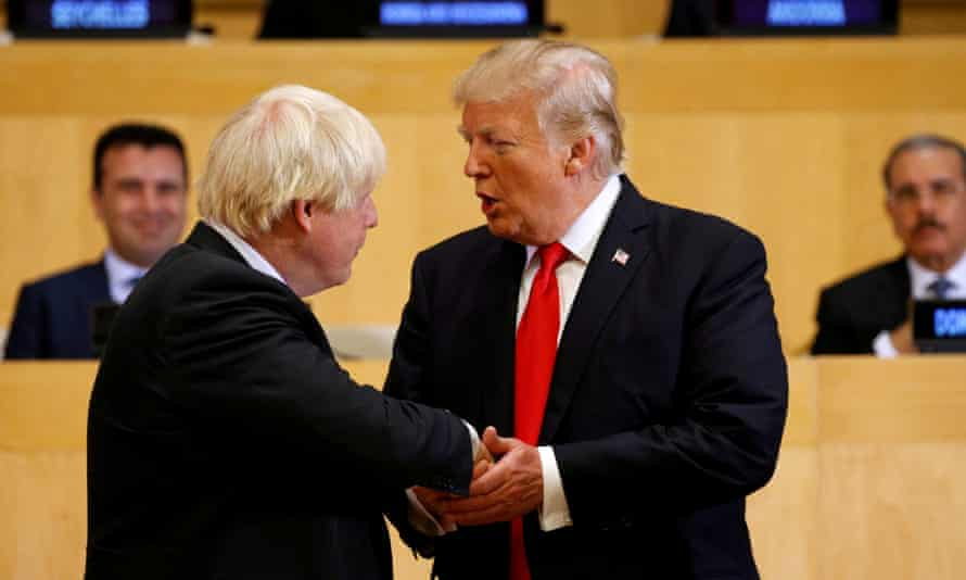 Donald Trump and Boris Johnson shaking hands at the United Nations in New York in September 2017.