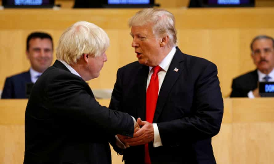 Donald Trump shaking hands with Boris Johnson at the UN in September 2017