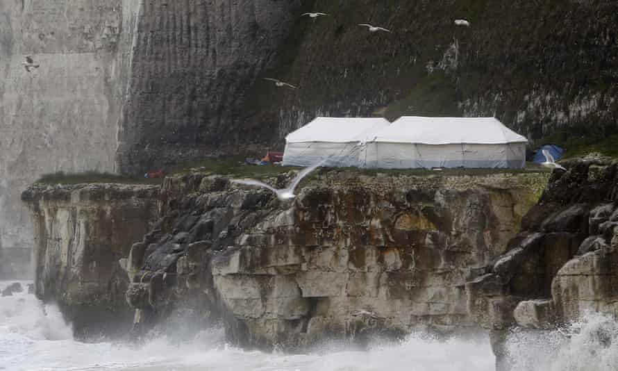 Makeshift camp along cliffs near Dieppe, northern France, by migrants wanting to cross to the UK