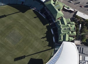 An aerial view of an empty Sydney Cricket Ground on 22 April, 2020.