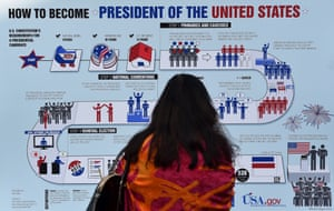A guest reads an information board during ballot counting of the US presidential election at the US embassy