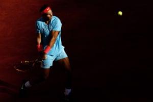 Rafael Nadal eyes the ball.