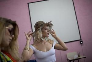 Veronica Verone, 25, in a floppy hat