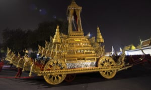 The royal chariot which carried the body of the late Thai king.