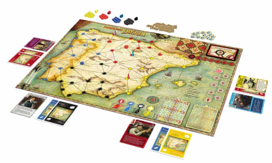 the board game pandemic iberia laid out as if on a table top