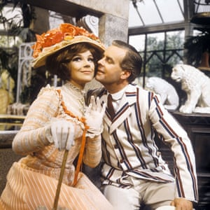 Fenella Fielding as Gwendolen Fairfax and Ian Carmichael as John Worthing in the Armchair Theatre television production of The Importance of Being Earnest, 1964