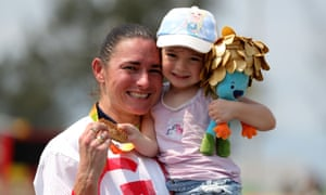 Sarah Storey celebrates with her daughter Louisa after winning the C4/5 road race in one of the most memorable images of the Rio Paralympics