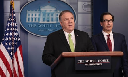Mike Pompeo and Steven Mnuchin, the US treasury secretary, at a White House briefing.