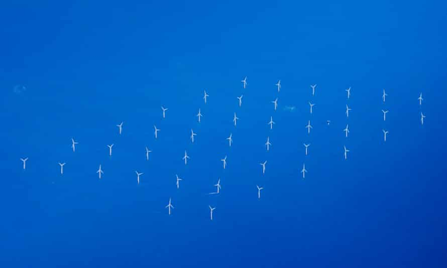 Aerial view of the London Array, an offshore windfarm in the Thames estuary.