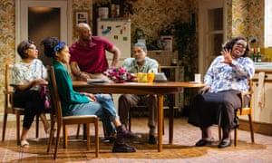 Michelle Greenidge, Franc Ashman, Oliver Alvin-Wilson, Ricky Fearon and Cecilia Noble in Nine Night at the Dorfman.