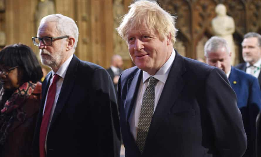 Boris Johnson and Jeremy Corbyn at the state opening of Parliament on December 19