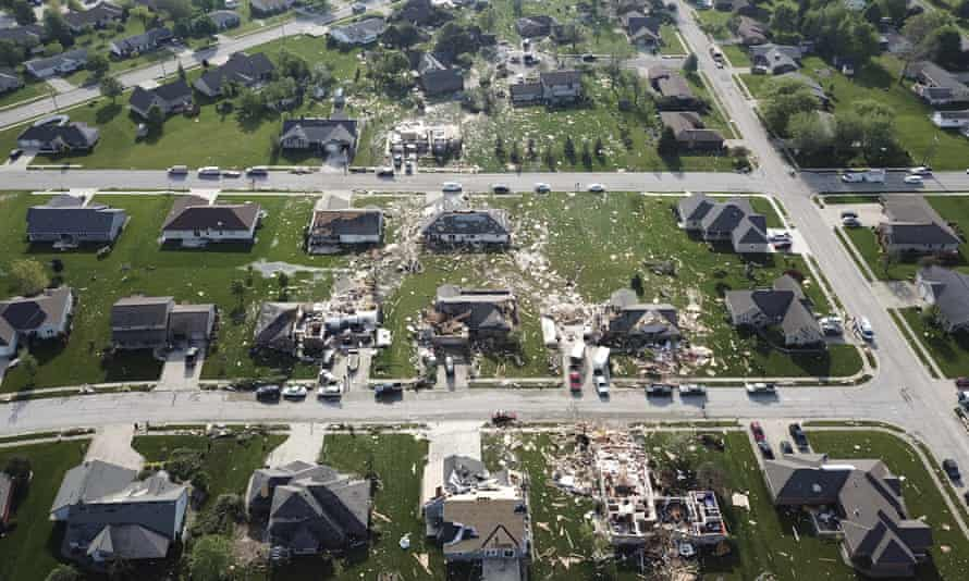 At least half a dozen communities from eastern Indiana through central Ohio suffered damage from overnight storms.