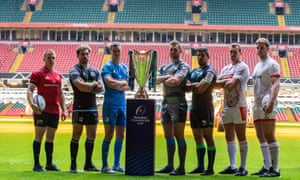 (From left) Rory Scannell of Munster, Callum Gibbins of Glasgow, Leinster's Johnny Sexton, Dan Lydiate of Ospreys, Connacht's Jarrad Butler, Alberto Sgarbi of Treviso and Ulster's Iain Henderson pose with the trophy during the Champions Cup launch in Cardiff.