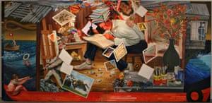 Nicole Eisenman Progress: Real and Imagined [left panel] 2006 Oil on canvas 243.8 x 457.2 cm Courtesy of Ringier AG / Sammlung Ringier, Switzerland