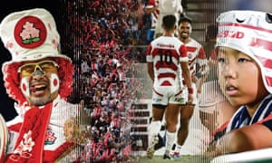 Scenes on and off the pitch at Japan's warm-up game against South Africa earlier this month. Photographs: Issei Kato/Reuters; Aflo/Alamy; Kyodo Photo via Newscom/Alamy. Montage by Christophe Gowans/The Guardian.