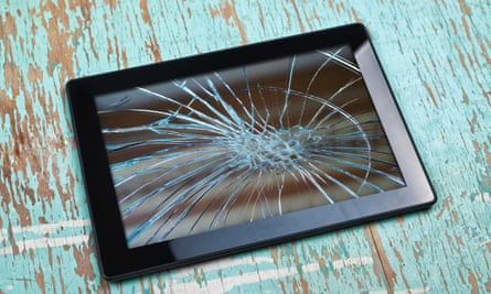 A tablet computer with a smashed screen