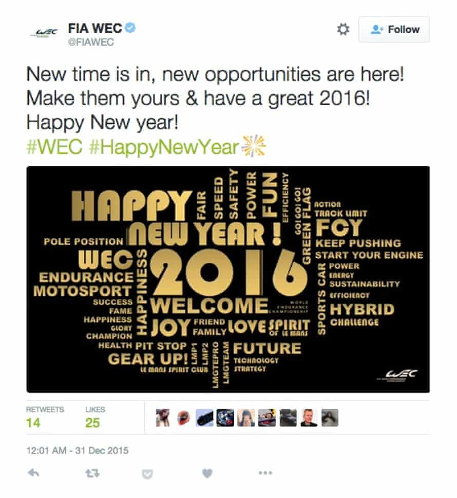 FIA World Endurance Championship loses its sense of timing with this early new year tweet.