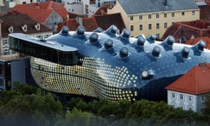 Outside view of the Graz Modern Art Museum nicknamed by locals as 'Friendly Alien'.