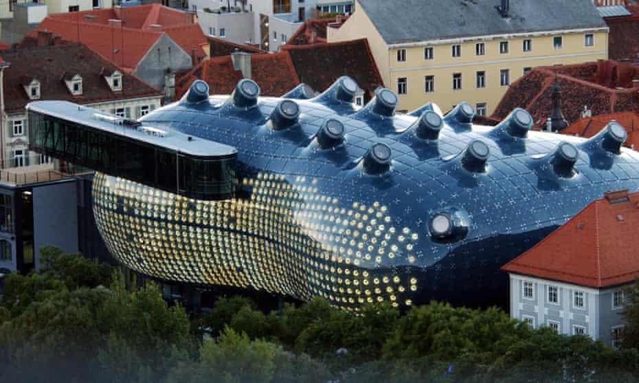 Outside view of the Graz Modern Art Museum nicknamed by locals as 'Friendly Alien'.