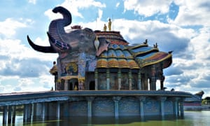 Wat Ban Rai, an elephant-shaped temple in the middle of a lake.